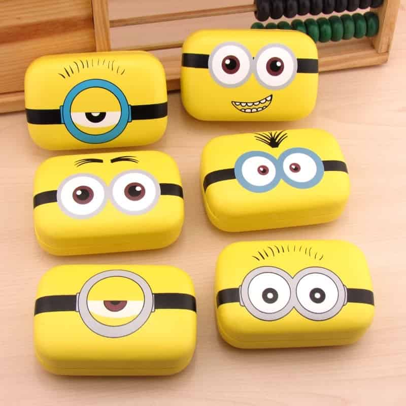 Cute Minion Expressions Contact Lenses Cases with 6 different Variations