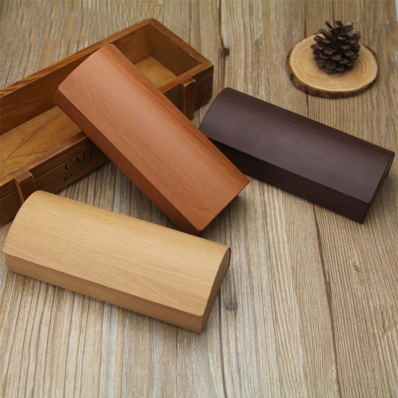 Wood Grain Magnetic Sunglasses Case with Velvet Interior